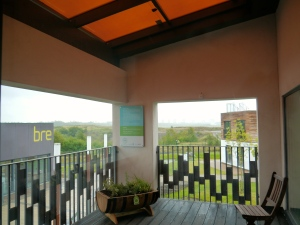 the balcony with transparent solar pv