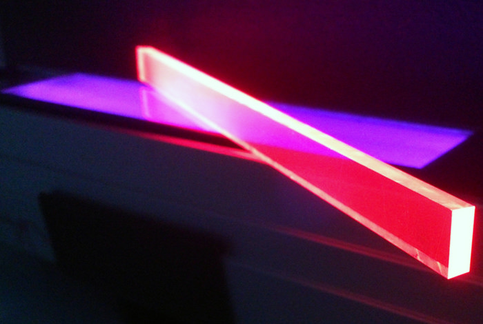 Quantum dot LSC devices under ultraviolet illumination.