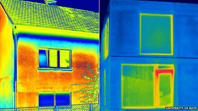 A brick house (left) loses more heat than one made with straw bales. University of Bath, Author provided